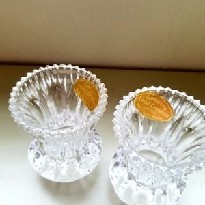 Pair Crystal Single Candle Holder West Germany Rare Crystal Swan Neck Style Single Candle holder West German Crystal Candle Holders